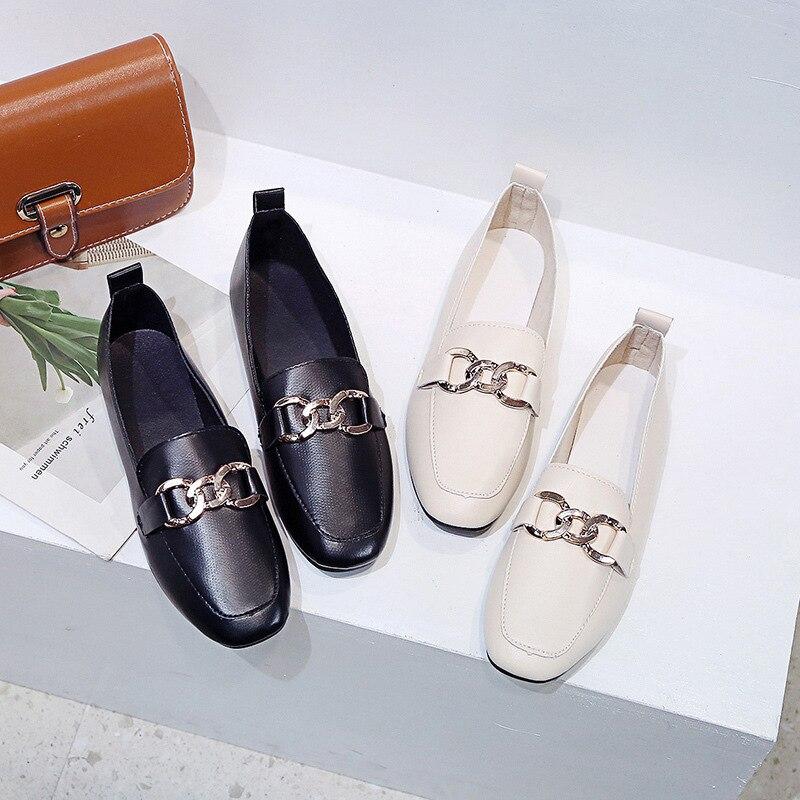 Ev ve Bahçe'ten Ayakkabı Rafları ve Organizatörleri'de Sıcak satış ayakkabı 2019 avrupa ve amerika yeni stil düz bayan moda bot ayakkabı çok yönlü loafer'lar iş ayakkabısı rahat Kor title=