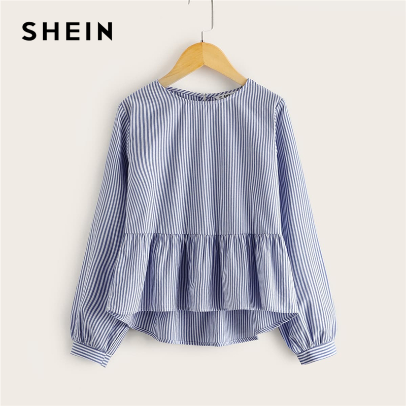 SHEIN Kiddie Striped High Low Hem Girls Peplum Cute Blouse Kids Top 2020 Spring Bishop Sleeve Buttoned Back Child Flared Blouses