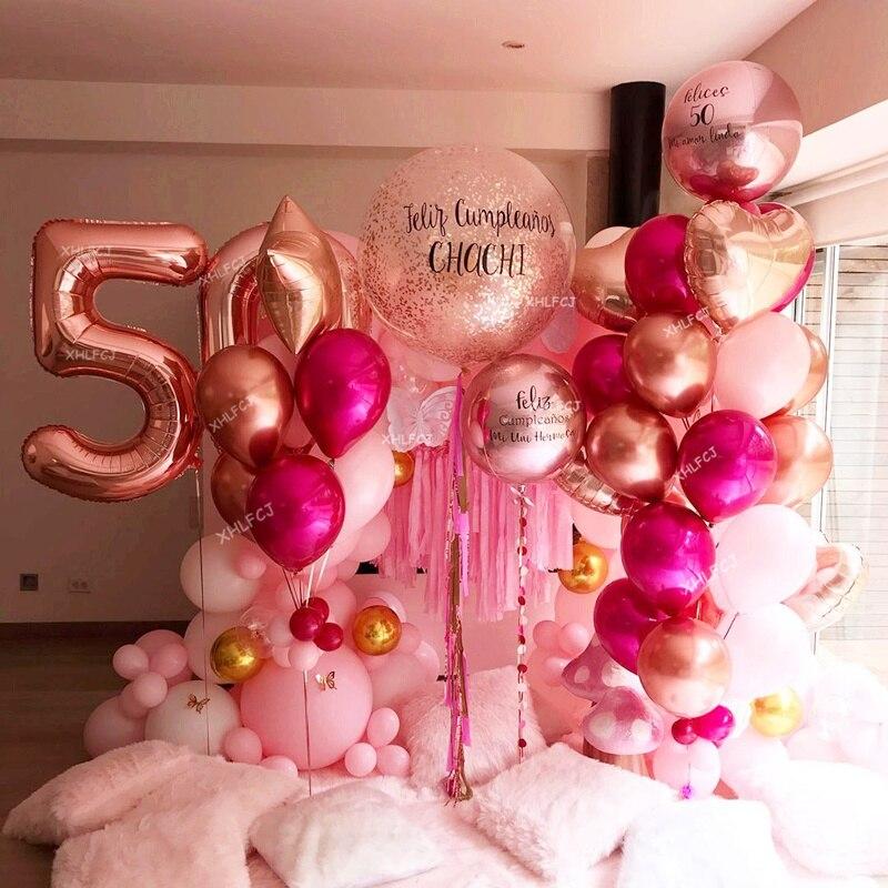 1 Набор из розового золота количество сердце приглашения на свадьбу, шарики для свадебного украшения день рождения Юбилей вечерние воздушн...