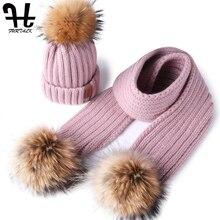 FURTALK ילדים חורף כובע וצעיף עבור בנות בני כפת כובע חם תינוק הפרווה פום פום כובעי צעיפי לילדים ילד הגילים 1 4
