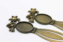 BA-011 10pcs 18*25mm jewelry Findings Cabochon Setting Charm Pendant Alloy Antique Bronze Oval Flower Bookmark