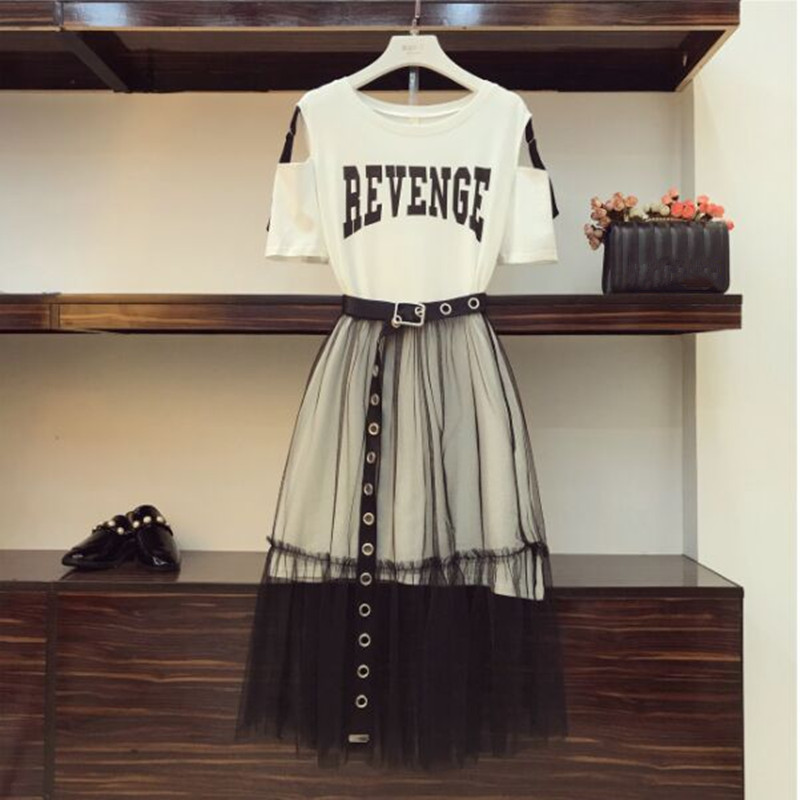 2019 Summer Women Gauze Skirt Sets Two Piece Set Long Design Off Shoulder T Shirt & Gauze Skirt Students Holiday Outfits