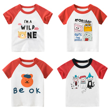 2020  Girls Kids Boys T Shirt Cartoon Print Short Sleeve Baby T-shirts Tops White And Red  Children T-shirt for Boys Clothes