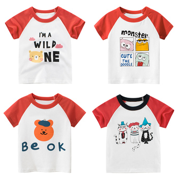 2020  Girls Kids Boys T Shirt Cartoon Print Short Sleeve Baby T-shirts Tops White And Red  Children T-shirt for Boys Clothes kids t shirt funny boys clothes cartoon game print t shirt costume boys t shirt girls summer kids clothes t shirt children shirt