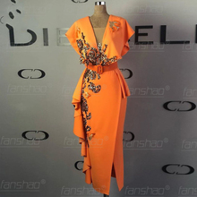 Fanshao Orange Evening Dresses Robe De Soiree Gold Appliques Sequins V Neck Droped Cap Sleeve Midi Calf  Formal Party Gowns
