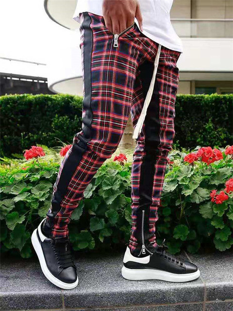 High quality men's  Korean version checked fashion patchwork color matching small legs trouser slim casual sports pencil pants 5
