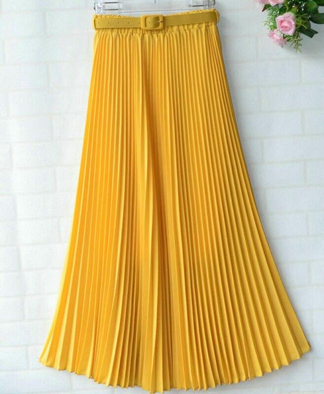 Ladies Chiffon Pleated Double Layer Skirt Elegant Solid Fashion Women Long High Waist Party Maxi Sundress