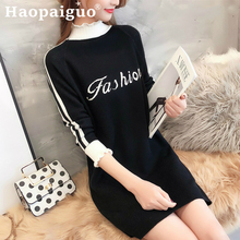 2019 Autumn Winter Black Dress Women Half Turtleneck Letter Knitted Work Print Striped Sweater White Female