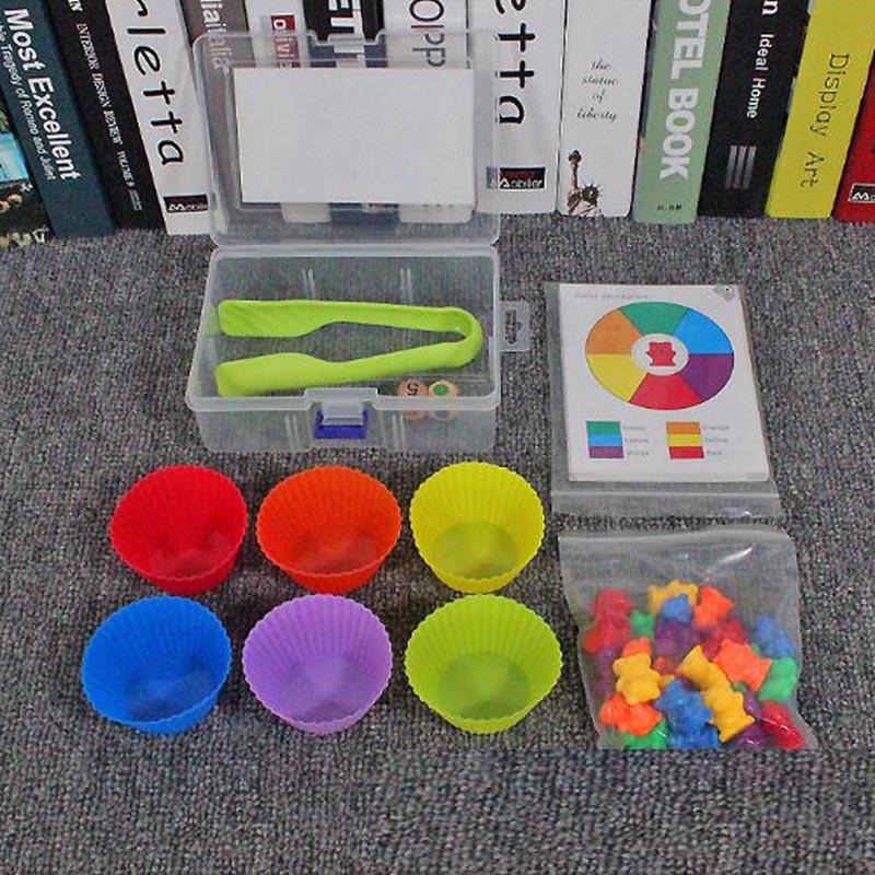 62 pçs/set colorido contando ursos com empilhamento copos montessori brinquedos educativos matemática ferramentas cor classificação jogo de correspondência brinquedo