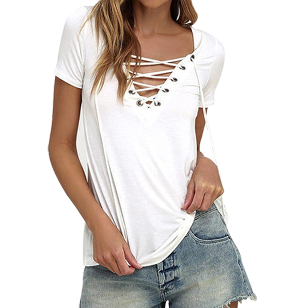New Fashion Camiseta Feminina <font><b>Summer</b></font> Women TShirts <font><b>Sexy</b></font> Deep <font><b>V</b></font> <font><b>Neck</b></font> <font><b>Bandage</b></font> <font><b>Shirts</b></font> White Tops&Tees Large Size S- image