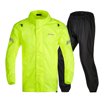 YELLOW WATERPROOF MOTORBIKE CYCLING REFLECTIVE RAIN OVER JACKET TROUSER SUIT tanie i dobre opinie perfeclan