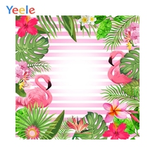 Yeele Photography Background Tropical Pink Flamingo Jungle Baby Birthday Backdrops Photo Shoot Props Photobooth Printed Custom pastel pink color princess baby girl photo shoot background printed flowers newborn photography props kids portrait backdrops