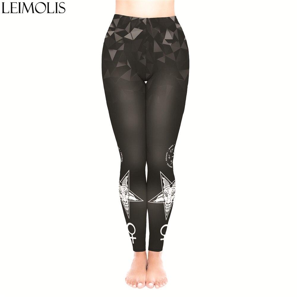 LEIMOLIS 3D Print Gothic Devil Satan Black Fitness Push Up Workout Leggings Women Plus Size High Waist Punk Rock Sexy Leggins