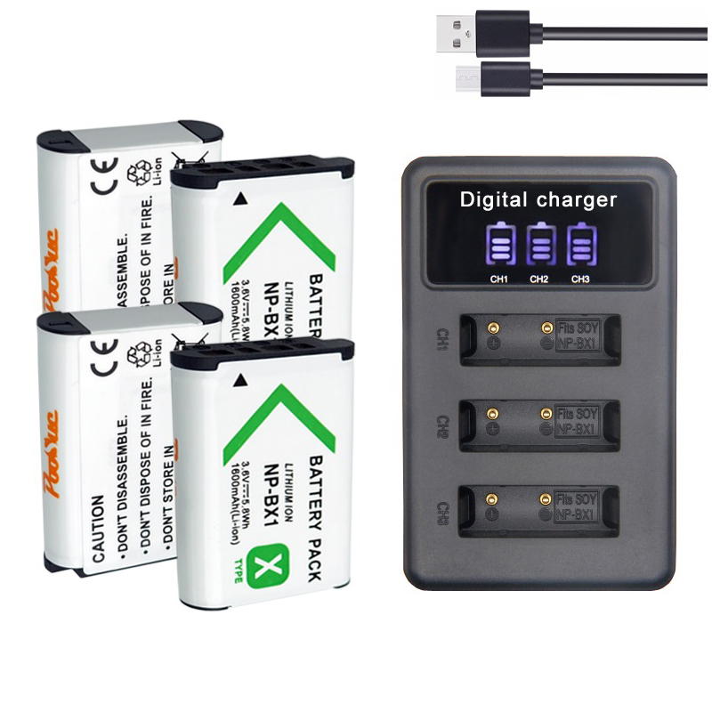 For <font><b>Sony</b></font> NP-BX1 Battery NP BX1 triple LED charger FIT FDR-X3000 AS100V HX400 HX60 GWP88 <font><b>HDR</b></font>-<font><b>AS300R</b></font> DSC RX1 RX100 Camera image