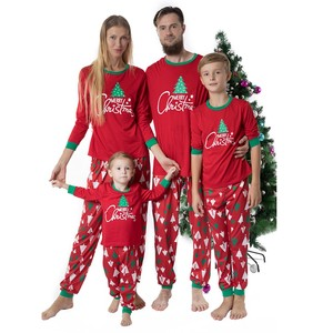 Family Matching Christmas Clothes Set Red Cartoon Tree Top+ Long Pants Outfit Winter Xmas Clothes Parent Child Pajamas Se6