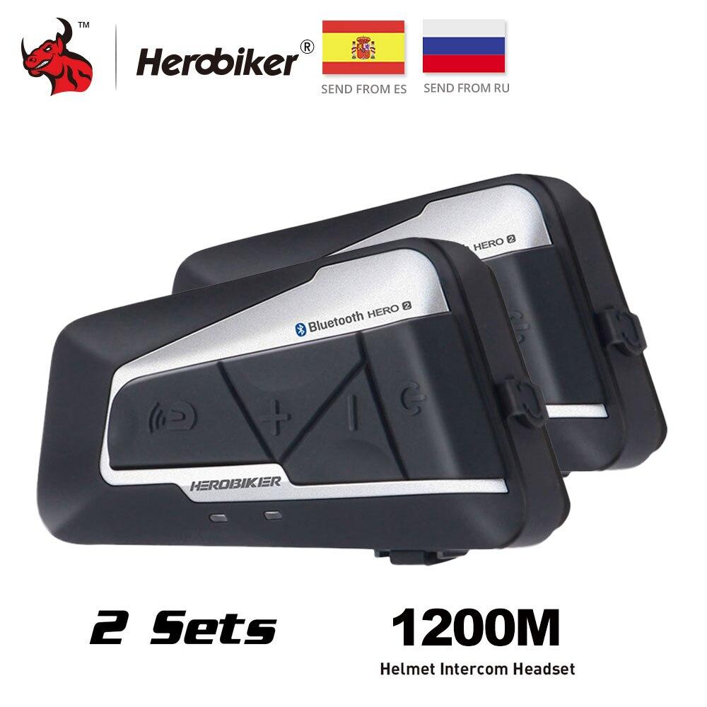 HEROBIKER Motorrad Helm Intercom Wasserdichte Drahtlose Bluetooth Intercom Motorrad Headset Sprechanlage für 2 Fahrten 1200M 2set