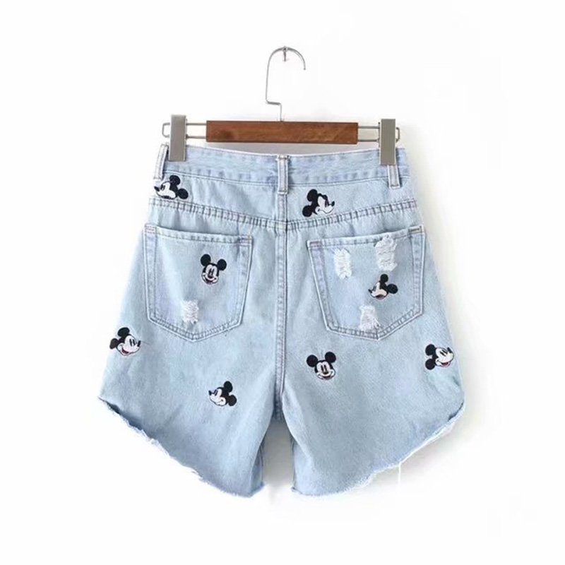 2020 Denim Shorts Women Vintage Cute Cartoon Mouse Embroidery High Waist A-line Mini Burrs Denim Shorts Women Plus Size Shorts