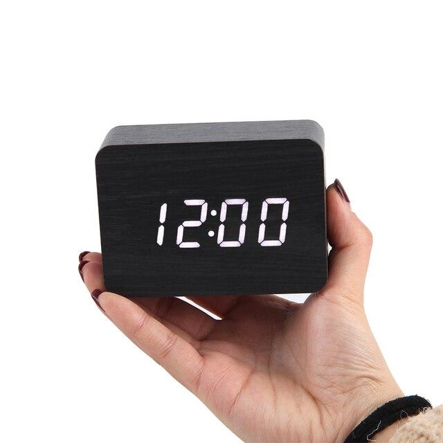 LED Wooden Clock Digital Alarm Clocks Desktop Table Clocks Electronic Voice Control Temperature Display Despertador Home Decor 4