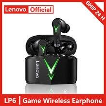 Lenovo lp6 tws gaming fones de ouvido sem fio bluetooth 5.0 jogo baixa latência esportes fone com microfone estéreo 3d baixo no ouvido