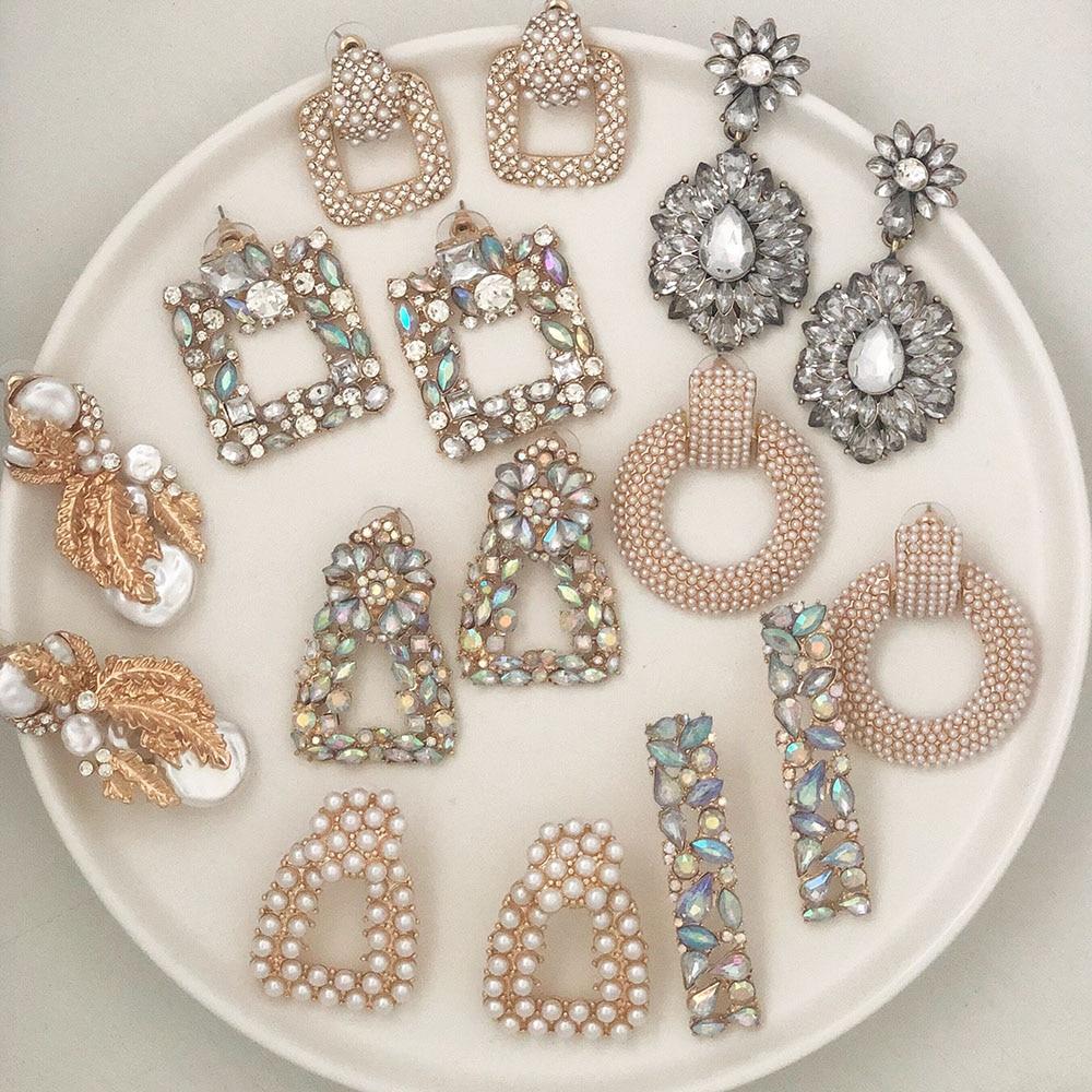 JUJIA za Fashion Boho Crystal Earrings For Women New Rhinestone Statement Pearl Drop Earrings Bijoux Wholesale