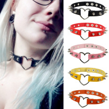 Sexy Harajuku Necklace Women Jewelry Heart Pendant Choker Spike Gothic Leather Punk Collar Chocker Necklaces Statement multicolor full rhinestone choker necklace women sexy shiny statement crystal collar necklaces bijoux gargantilla club jewelry