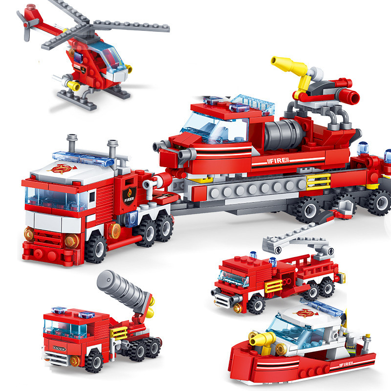 348pcs Fire Fighting Car Helicopter Boat Building Blocks 4in1 Trucks Compatible Classic City Firefighter Figures Christmas Toys