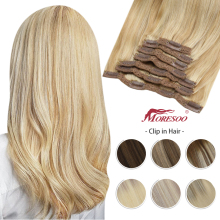 Moresoo Clip in Hair Extensions Human Hair Balayage Highlight Machine Remy Hair Natural Straight Seamless 100% Real Brazilian