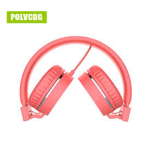 POLVCDG Red Music Headphones Microphone Noise Cancelling HIFI Headsets DJ Earphone Stereo Computer Mobile MP3 Wired Headset