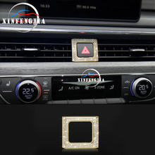 For Audi A4 B9 A5 17-18 Crystal Style Warning Light Button Frame Cover Trim