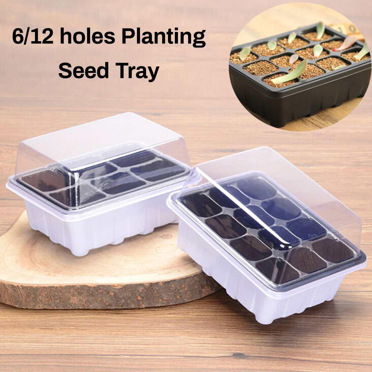 6/12 Holes Plastic Nursery Pots Seed Planting Tray Garden Plant Pots Germination Box Grow Box Gardening Supplies