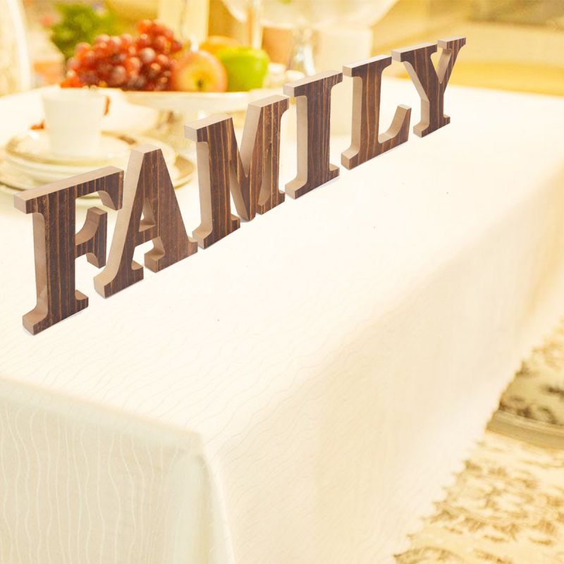 LOVE FAMILY Freestanding Decorative Wooden Letters Sign Rustic Home Living Room Bedroom Decorations Wedding Housewarming Gift in Decorative Letters Numbers from Home Garden