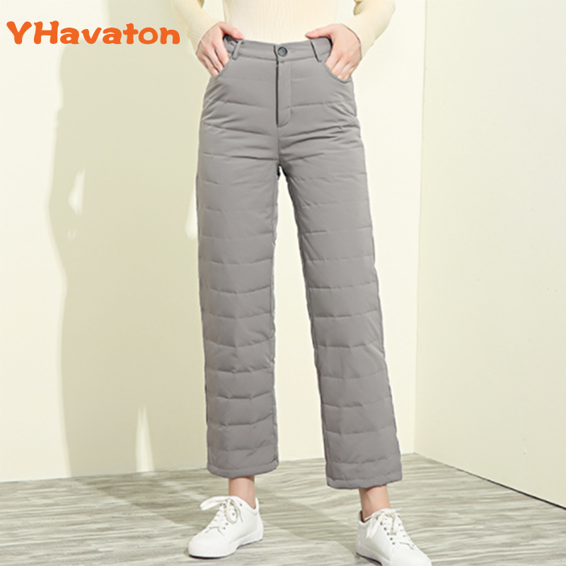 YHavaton Winter Elegant White Duck Down Pants Women Vintage High Waist Thicken Warm Trousers Female Straight Pants Plus Size