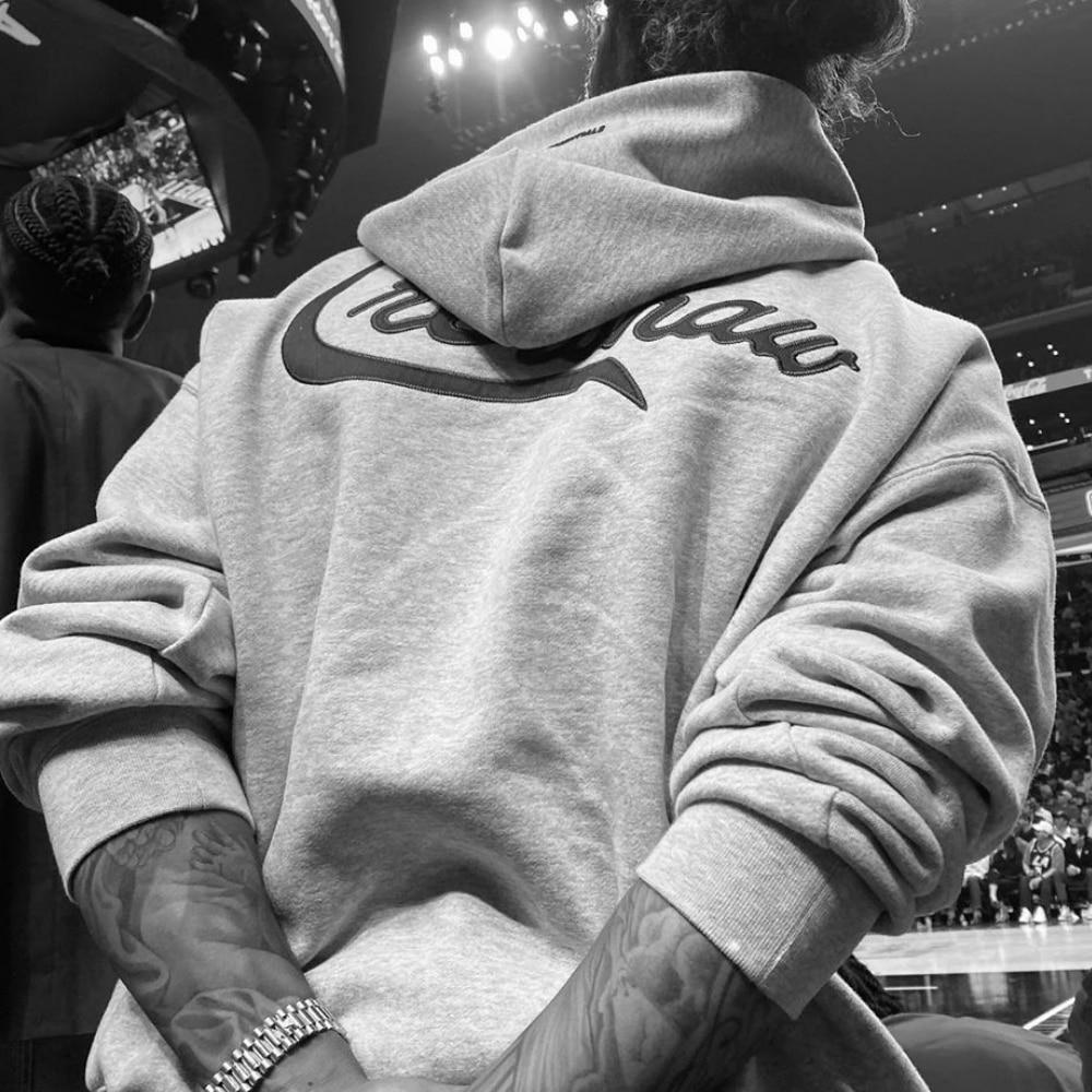Best Version Kanye West Letter Embroidery Oversize Hoodie Hip Hop Raglan Fleece Sweatshirt