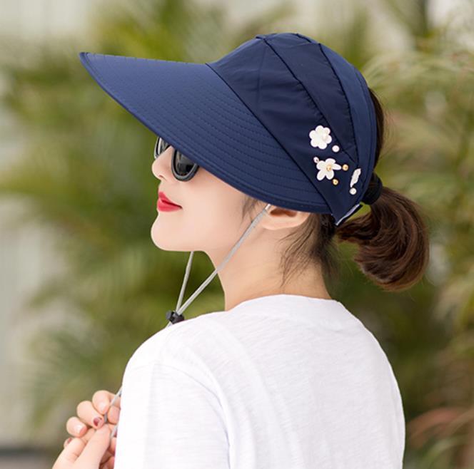 New Fashion Women Hat Korea Style Flower Packable Large Wide Brim Hat Anti-UV Adjustable Ladies Floppy Beach Sun Hat