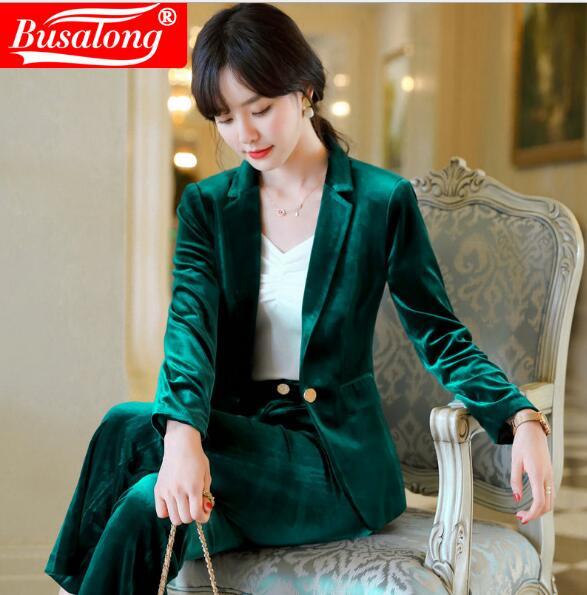 2020 Spring Elegant Velvet Women Jacket Solid Wine Green Navy Interview OL Black Blazer Business Workwear Plus Size  Womans Coat