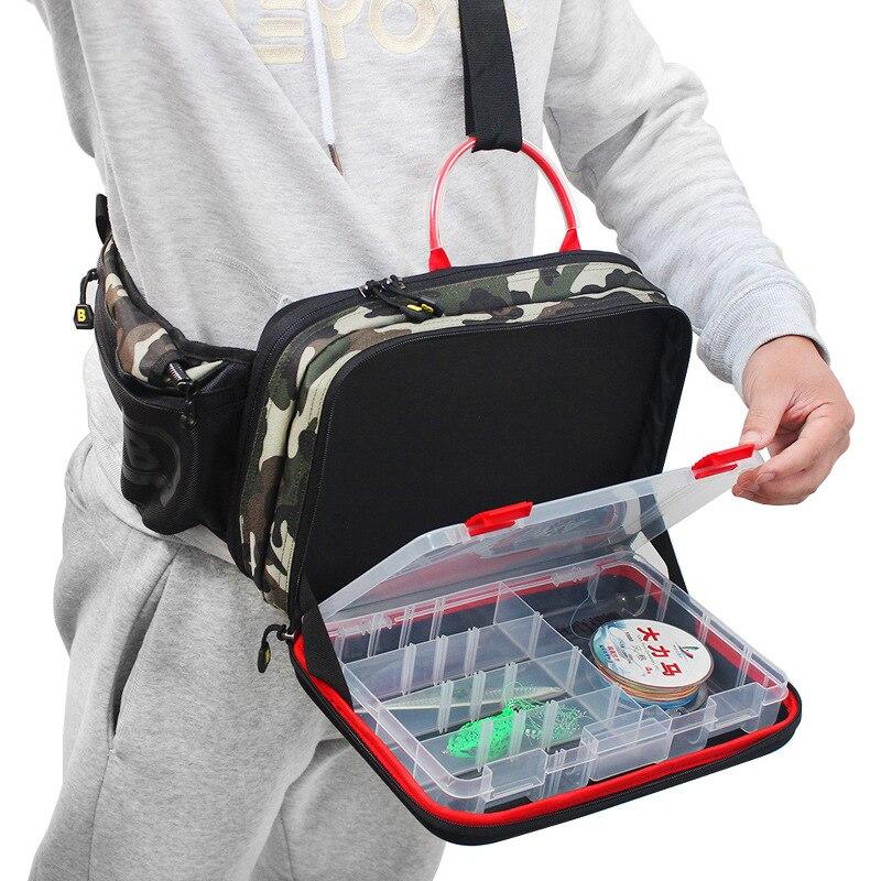 Sac de taille de pêche Pack de poitrine sac de jambe Camouflage Camo mouche sac de canne à pêche avec matériel de pêche boîte de rangement sacs housse