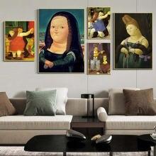 Nordic Смешные арт Мона Лиза из плотной ткани Картины Фернандо