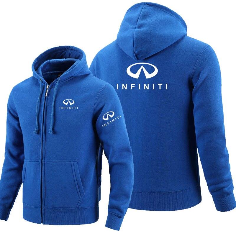 Zipper Hoodies Infiniti logo Printed Hoodie Fleece Long Sleeve Man's zipper Jacket Sweatshirt