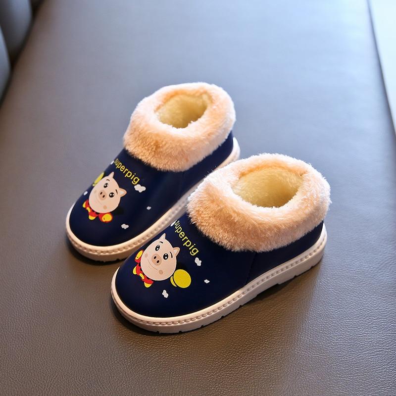 2020 Children's Shoes Winter Plus Velvet Thick Leather Children's Shoes Indoor Shoes Non slip Wear resistant Cartoon Fur Cotton|Slippers| |  - title=