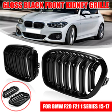 Pair Front Kidney Grille Gloss Matt Black Double Slat Line M Color Car Styling Racing Grille For BMW F20 F21 1 Series 2015 16 17