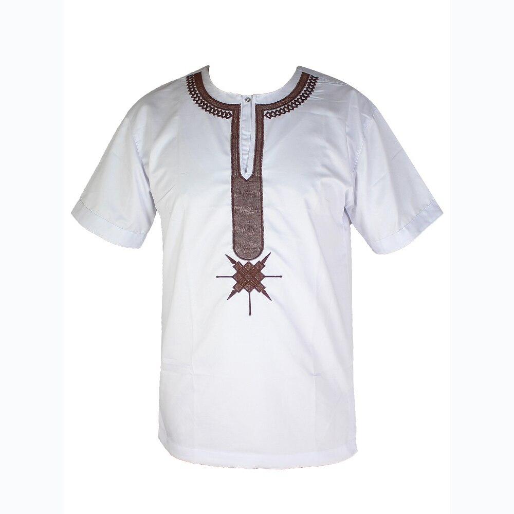 Arabic Thobe Ethnic Embroidery Tops Men`s Islamic T-shirt Muslim Clothes Arab Short Tunic мусульманская одежда для мужчин