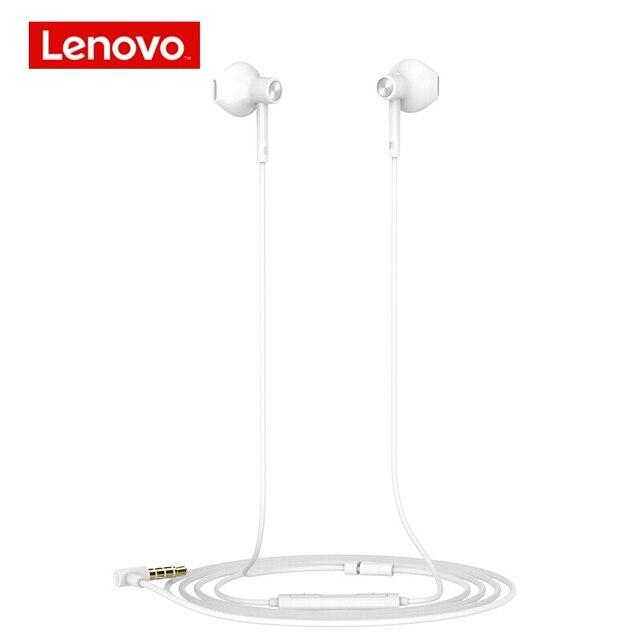 Оригинальные наушники Lenovo DP20 с двойным голосовым блоком, Hi Fi белые проводные наушники вкладыши, мобильный телефон, Android, Xiaomi, Lenovo