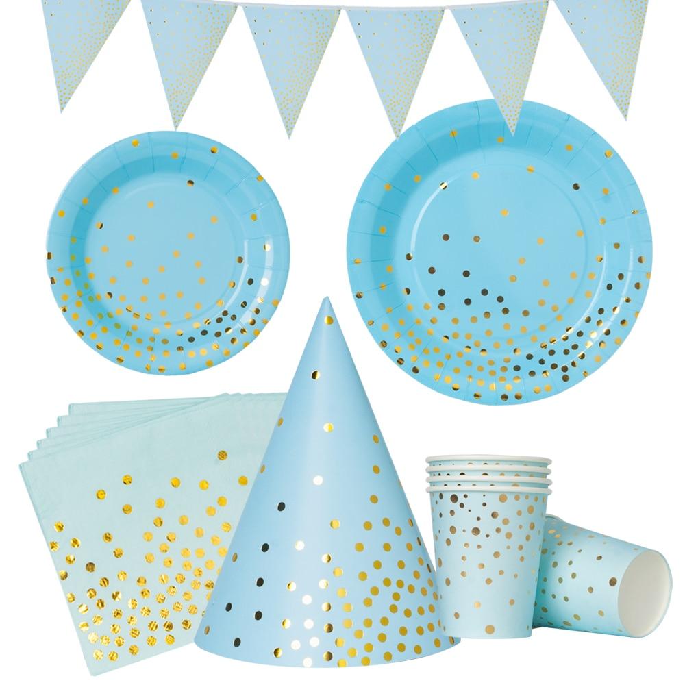 Polka Dot Sky Unicorn Birthday Party Supplies Tableware 16 pack Disposable Set