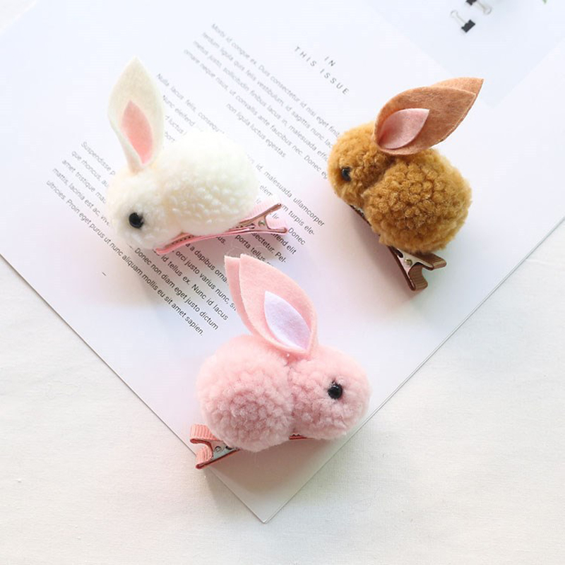 Cute Hair Ball Rabbit Hair Clip Children's Girl Animal Hairpins Korea Simple Hair Accessories Headwear Barrette Stick Hairpin