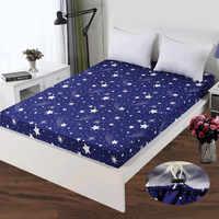 LAGMTA 1 Pza 100% sábana de poliéster Funda de colchón Impresión de sábana de cuatro esquinas con elástico