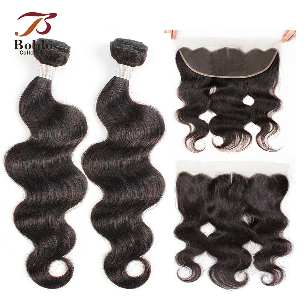 BOBBI COLLECTION 2/3 Bundles With Frontal 4*13 Ear To Ear Lace Closure Brazilian Body Wave Non-Remy Human Hair Weave Extensions