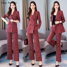 OL Temperament Elegant Red Plaid Women Office Work Suits Double Breasted Blazer Jacket and Wide Leg Pant 2 Piece Set Suite Women