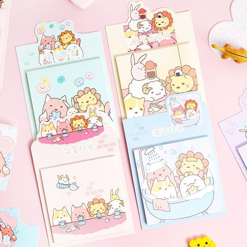 Korean Cute Sumikko Gurashi Animials Sticky Notes Memo Sheets To Do List Kawaii Planner Stickers Office Decor Notepad Stationery