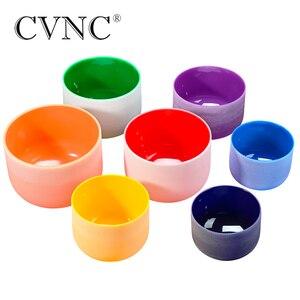 """Image 2 - Cvnc 6 """" 12"""" Set Van 7 Pcs Opmerking Cdefgab Kleur Frosted Quartz Crystal Klankschaal Met Gratis 2 Stuks Liner Draagtassen"""