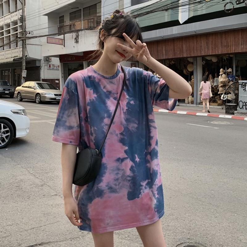 MISSKY New Women T-shirt Contrast Color Tie-dyed Rainbow Short Sleeves Tshirt Crew Neck Loose Summer Female Tops
